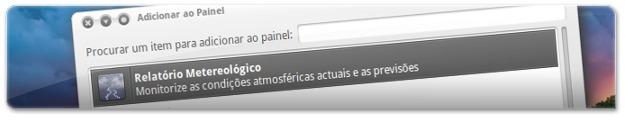A adicionar applet da meteorologia ao Painel