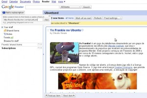 A adicionar feed no Google Reader