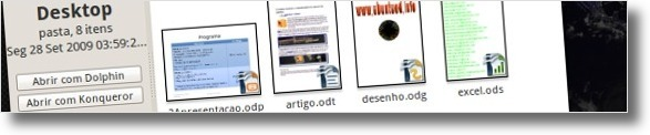 Nautilus com as miniaturas dos ficheiro do OpenOffice