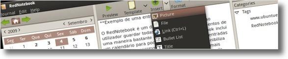 A inserir conteudo no RedNotebook