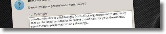 A instalar o pacote ooo-thumbnailer