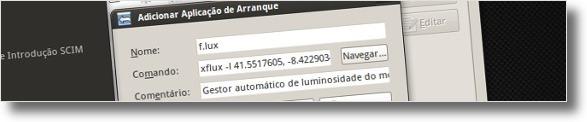 A adicionar o f.lux ao arranque do ubuntu