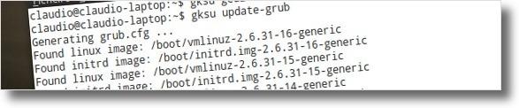 A actualizar o Grub2 com as novas opcoes