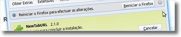 Reinicie o Firefox para ter acesso ao NewTabURL