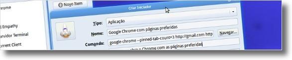 A criar atalho para o Google Chrome com as abas predefinidas