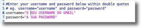 Dados do email