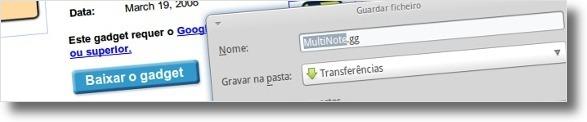 A fazer download de um gadget