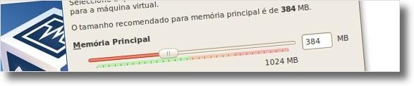 A definir quantidade de memória disponível para a máquina virtual