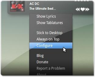 A aceder Às configurações do CoverGloobus