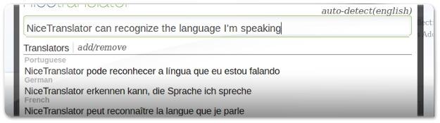 O NiceTranslator deteta automaticamente a língua!
