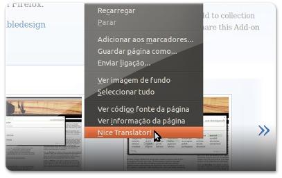 Menu do clique direito do mouse com as opções de tradução