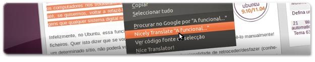 Traduzir um texto selecionado