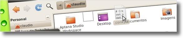A arrastar ficheiros de configuração do Conky