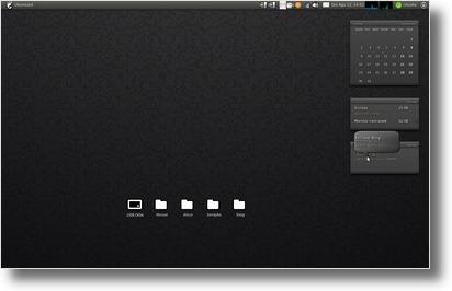 Ubuntu com o tema o Rainlendar com o tema Ivi.Rainy
