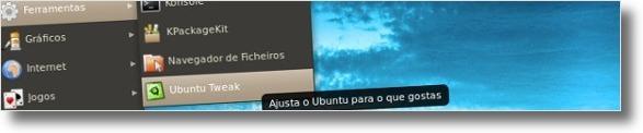 A abrir o Ubuntu Tweak
