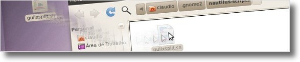 A arrastar o GuiLxSplit para a pasta dos scripts do Nautilus