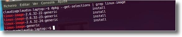 Lista de kernels presentes no computador