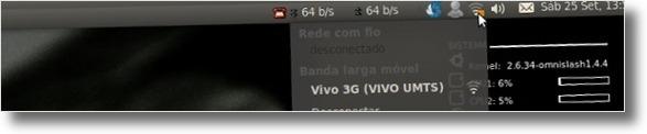 Network Manager ligado à Vivo 3G