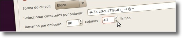 A definir tamanho padrão através das opções do Terminal
