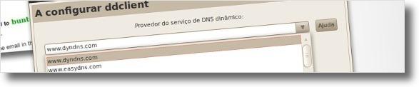 A seleccionar DynDNS como serviço de DNS's
