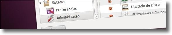 Seleccionar sub-menu Administração