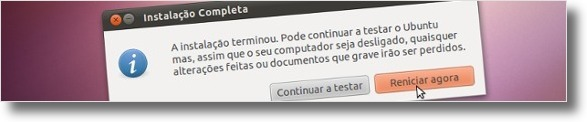 """Clique no botão """"Reiniciar agora"""""""