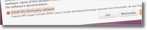 Nova instalação do ubuntu contém opção multimédia