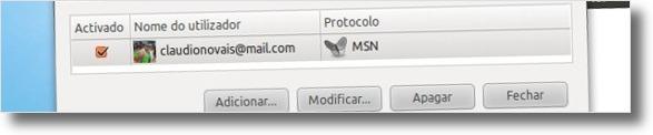 A editar conta do MSN