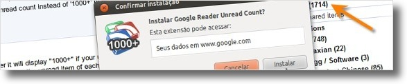 A instalar extensão Google Reader Unread Count