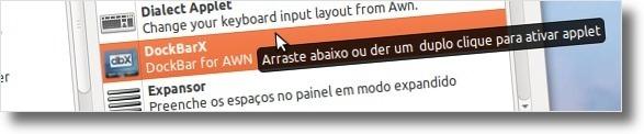 A adicionar o DockbarX ao AWN