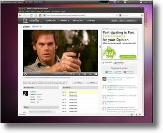 Veetle a transmitir um episódio da série de Dexter