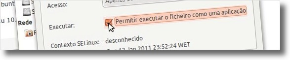 A alterar as permissões do ficheiro
