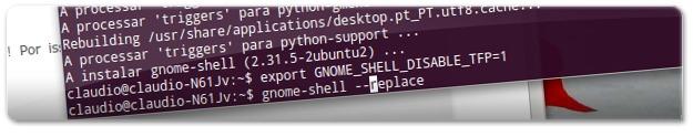 A executar o Gnome-shell