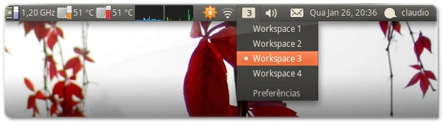O Indicator-workspaces permite escolher a área de trabalho que quiser