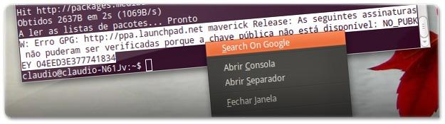 Terminal do Ubuntu com pesquisa do Google incorporada