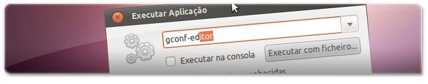 A abrir o Editor de Configuração