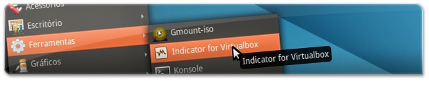 A abrir o Indicator for Virtualbox