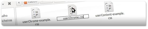 """A criar novo ficheiro com o nome """"userChrome.css"""""""