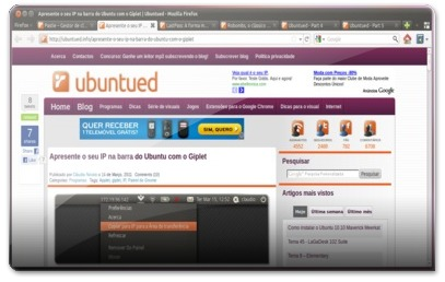 Interface do novo Firefox4 no Ubuntu