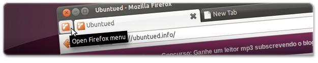 Firefox4 com o ícone do Ubuntued como botão dos menus