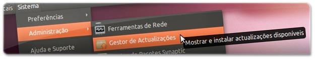 A abrir o gestor de actualizações do Ubuntu