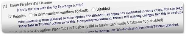 Escolha a opção Enabled para remover os cantos com botões