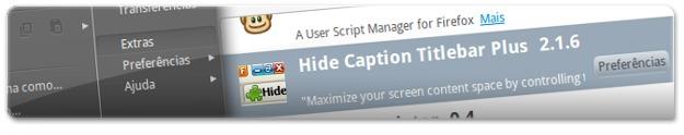 A aceder às opções do Hide Caption Titlebar plus