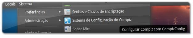 A abrir o gerenciador de configuração do Compiz