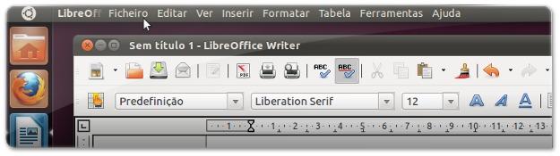 LibreOffice com os menus na barra superior do Ubuntu