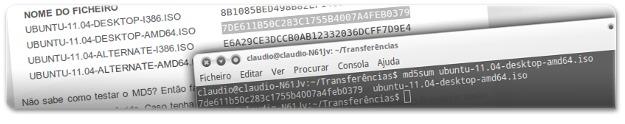 A fazer o teste MD5 do ficheiro do Ubuntu