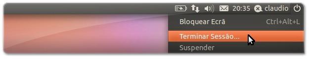 A terminar a sessão no Ubuntu Natty Narwhal