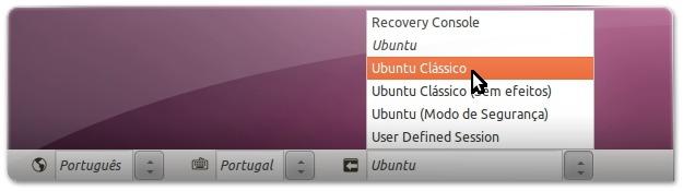 A escolher o ambiente clássico do UBuntu