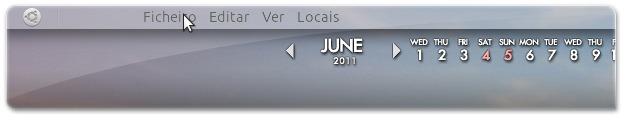 Barra dos menus das aplicações no painel do Ubuntu