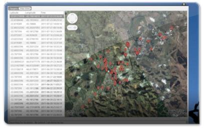 Creepy a mostrar os vários locais por onde andou o utilizador do twitter @tittao